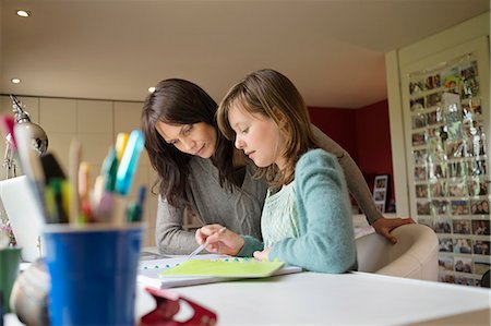 Girl studying with her mother at home Stock Photo - Premium Royalty-Free, Code: 6108-06166638