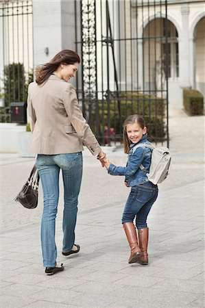 school - Girl with her mother walking to school Stock Photo - Premium Royalty-Free, Code: 6108-06166847