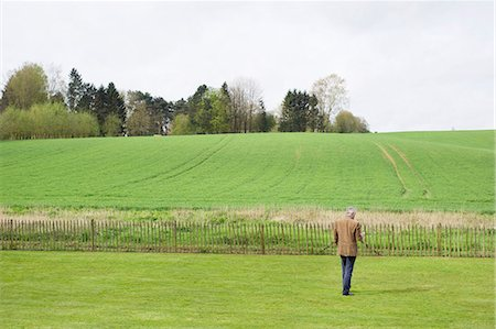 Man using a mobile phone in a field Stock Photo - Premium Royalty-Free, Code: 6108-06167129