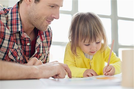draw - Man teaching his daughter Stock Photo - Premium Royalty-Free, Code: 6108-06167559