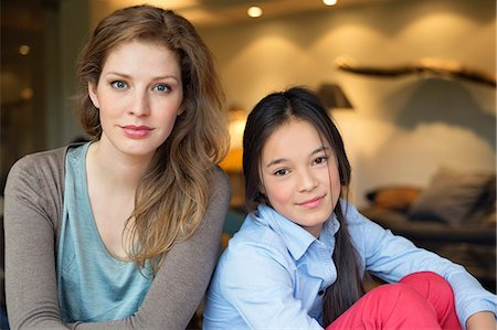 preteen beauty - Portrait of a woman smiling with her daughter Stock Photo - Premium Royalty-Free, Code: 6108-06167500