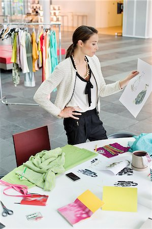 designer (female) - Female fashion designer working in an office Stock Photo - Premium Royalty-Free, Code: 6108-06168271