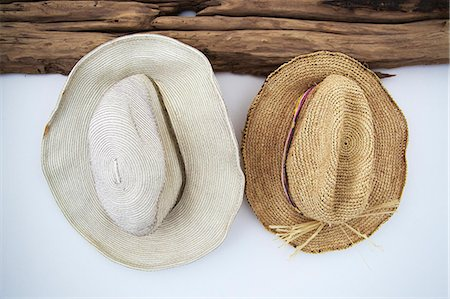 Close-up of two sunhats Stock Photo - Premium Royalty-Free, Code: 6108-06904350