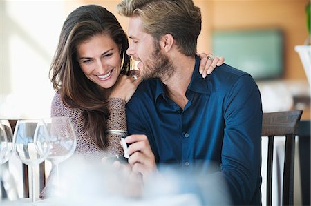 Man with engagement ring proposing his girlfriend in a restaurant Stock Photo - Premium Royalty-Free, Code: 6108-06905161