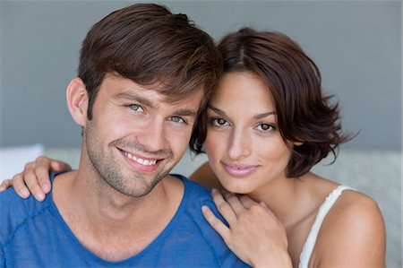 smiling - Portrait of a couple smiling Stock Photo - Premium Royalty-Free, Code: 6108-06905132