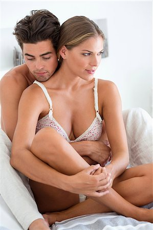 sexi women full body - Romantic couple on the bed Stock Photo - Premium Royalty-Free, Code: 6108-06906203