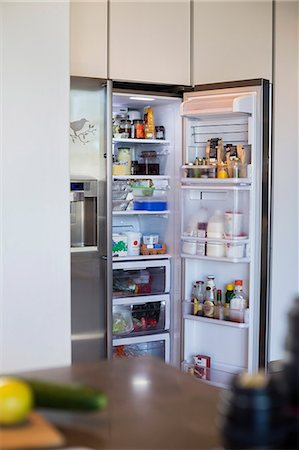 fridge - Assorted food in a refrigerator Stock Photo - Premium Royalty-Free, Code: 6108-06907069
