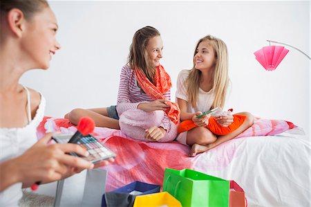 preteen beauty - Girls enjoying good time at a slumber party Stock Photo - Premium Royalty-Free, Code: 6108-06907024