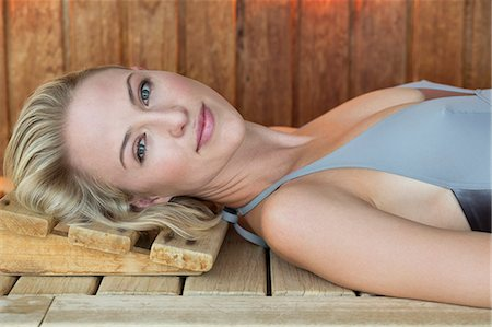 Portrait of a beautiful resting in a sauna Stock Photo - Premium Royalty-Free, Code: 6108-06907481