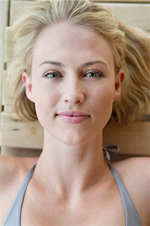 Portrait of a beautiful woman resting in a sauna Stock Photo - Premium Royalty-Free, Code: 6108-06907498