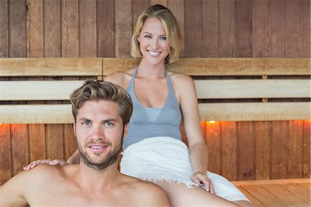 Portrait of a couple in a sauna Stock Photo - Premium Royalty-Free, Code: 6108-06907519
