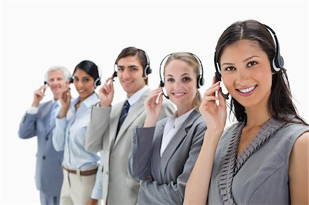 Call centre against white background Stock Photo - Premium Royalty-Free, Code: 6109-06002813