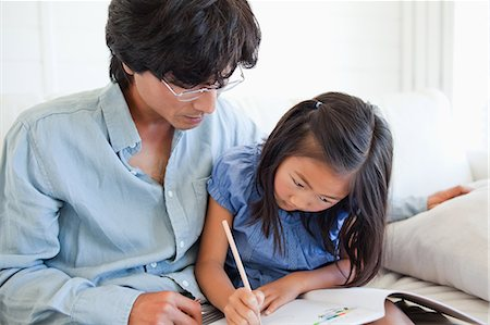pretty pictures to draw - A father helps his daughter do her homework. Stock Photo - Premium Royalty-Free, Code: 6109-06004907