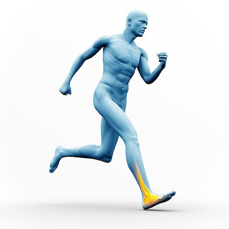figura - Blue human figure running with yellow highlighted ankle Foto de stock - Sin royalties Premium, Código: 6109-06684709