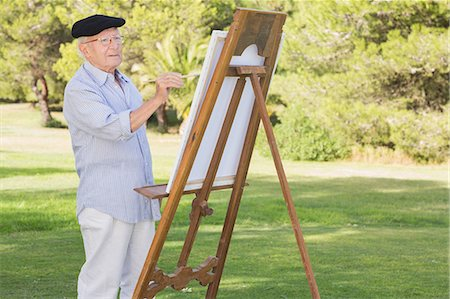 paint - Elderly man painting in the park Stock Photo - Premium Royalty-Free, Code: 6109-06684854