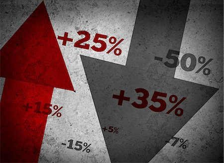 percentage symbol - Market statistics on grey wall Stock Photo - Premium Royalty-Free, Code: 6109-06685000