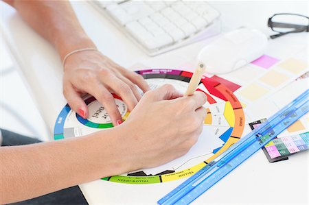 drawing computer - Designer working on a colour wheel Stock Photo - Premium Royalty-Free, Code: 6109-06781901