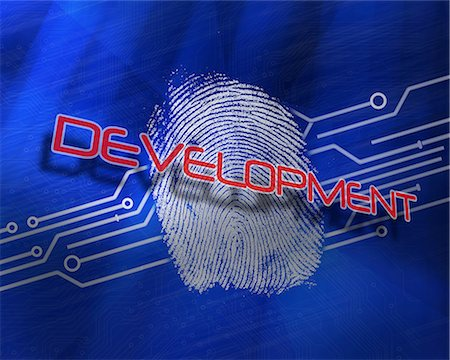 page - Development against fingerprint on digital blue background Stock Photo - Premium Royalty-Free, Code: 6109-07601755