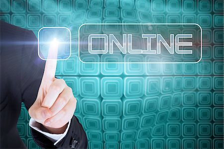 digital - Businesswomans finger touching Online button Stock Photo - Premium Royalty-Free, Code: 6109-07601711