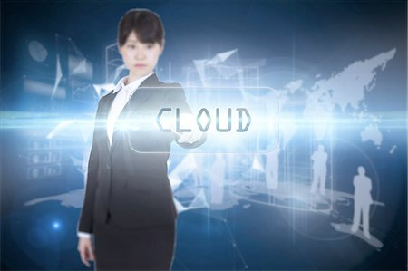 Cloud against glowing technological background Stock Photo - Premium Royalty-Free, Code: 6109-07601735