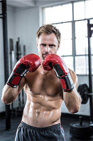 Fit man with boxing gloves Stock Photo - Premium Royalty-Free, Code: 6109-08397863