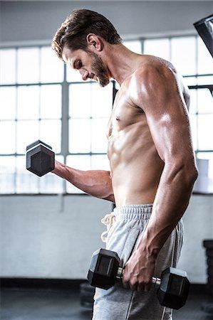 Fit shirtless man lifting dumbbells Stock Photo - Premium Royalty-Free, Code: 6109-08398058