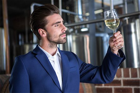 seasonal - Well dressed man examining glass of wine at the winefarm Stock Photo - Premium Royalty-Free, Code: 6109-08489547
