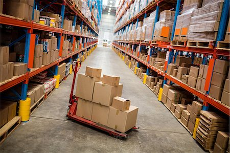 High angle view of warehouse aisle Stock Photo - Premium Royalty-Free, Code: 6109-08581710
