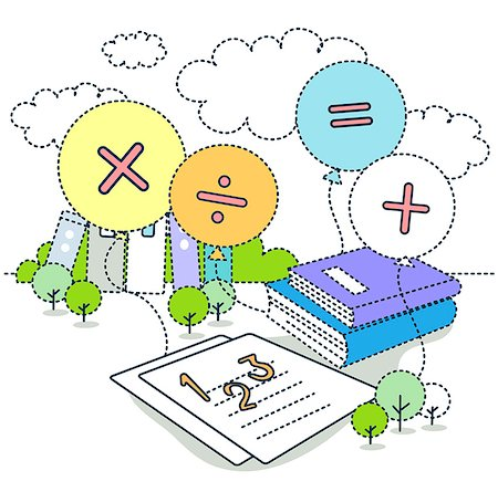 Math symbols on balloons with books and paper Stock Photo - Premium Royalty-Free, Code: 6111-06727554