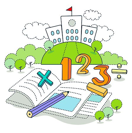 Math symbols on book with school in the background Stock Photo - Premium Royalty-Free, Code: 6111-06727556