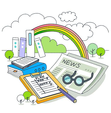 planner - Illustration of newspaper, clipboard and book with rainbow in background Stock Photo - Premium Royalty-Free, Code: 6111-06727531
