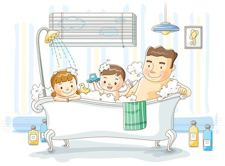 father son bath - Illustration of children having bath with father Stock Photo - Premium Royalty-Free, Code: 6111-06728075
