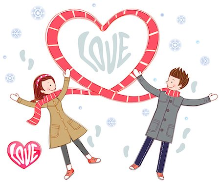 snowflakes  holiday - Couple And Heart Shape Symbol Made Up Of Scarf Stock Photo - Premium Royalty-Free, Code: 6111-06728161