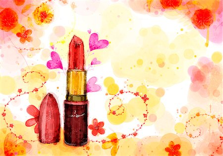 Lipstick On Flora Background Stock Photo - Premium Royalty-Free, Code: 6111-06728244