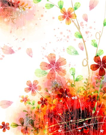 flower illustration - Flora Background Stock Photo - Premium Royalty-Free, Code: 6111-06728216