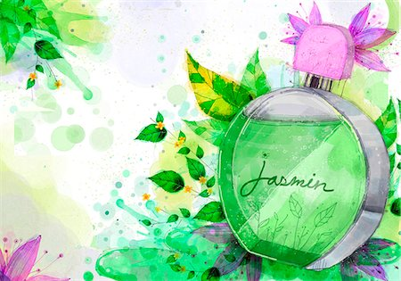 Perfume Bottle On Flora Background Stock Photo - Premium Royalty-Free, Code: 6111-06728235