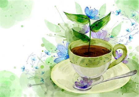 design (motif, artistic composition or finished product) - Coffee Cup And Spoon On Flora Background Stock Photo - Premium Royalty-Free, Code: 6111-06728239