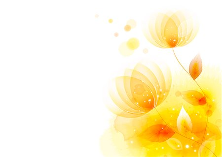 floral - Illustration of abstract yellow lotus Stock Photo - Premium Royalty-Free, Code: 6111-06728353