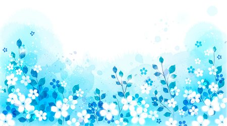 floral - Illustration of abstract blue floral pattern Stock Photo - Premium Royalty-Free, Code: 6111-06728334