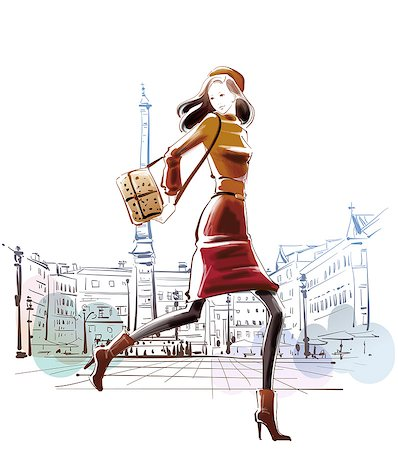 Illustration of stylish woman with purse Stock Photo - Premium Royalty-Free, Code: 6111-06728595