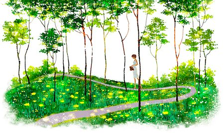 flower illustration - Girl Walking On Path Stock Photo - Premium Royalty-Free, Code: 6111-06728745