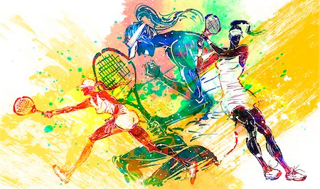 Female Tennis Player Stock Photo - Premium Royalty-Free, Code: 6111-06728825