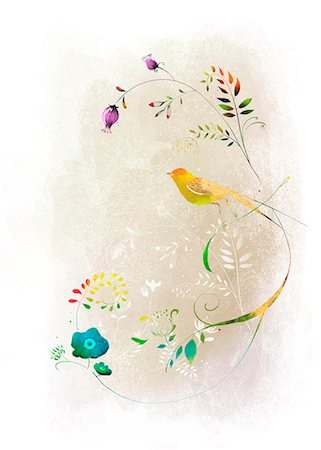 flower illustration - Bird On Flowering Tree Stock Photo - Premium Royalty-Free, Code: 6111-06728993