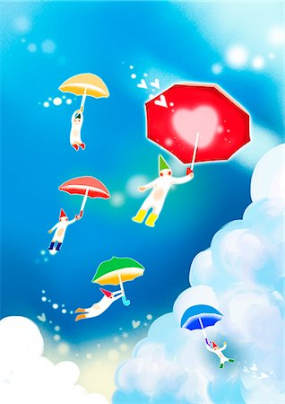 fly heart - Heart Shape With Umbrella Stock Photo - Premium Royalty-Free, Code: 6111-06729162