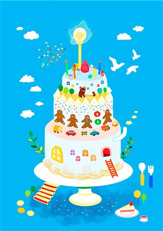 firework illustration - Cake Decoration With Lighted Bulb On Top Stock Photo - Premium Royalty-Free, Code: 6111-06729128