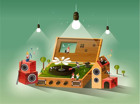 Records Lying On Floor With Stereo System Stock Photo - Premium Royalty-Free, Code: 6111-06729253