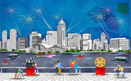 firework illustration - australia, New South Wales, Sydney, Harbor Bridge, New Year Fireworks Stock Photo - Premium Royalty-Free, Code: 6111-06729204