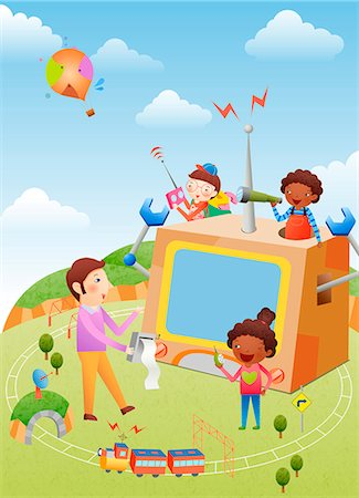 Children Playing With Toy Stock Photo - Premium Royalty-Free, Code: 6111-06729318