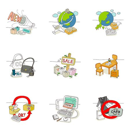 drawing (artwork) - Set of various icons for sale Stock Photo - Premium Royalty-Free, Code: 6111-06837061