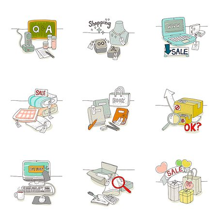 drawing (artwork) - Set of various icons for sale Stock Photo - Premium Royalty-Free, Code: 6111-06837062